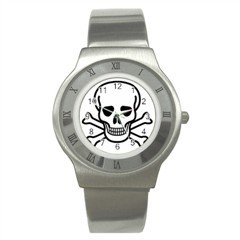 Jolly Roger Stainless Steel Watch, punk, goth, rock