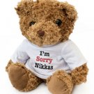 "Hand made "" I'M SORRY NIKKAS"" - Teddy Bear Cute Soft Cuddly - Gift Present Apology"