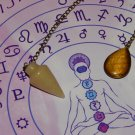 Genuine Yellow Aventurine & Tiger's Eye Dowsing Pendulum - Divination - Printed Altar Mat Included