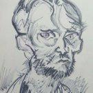 Old Drawing on Basket Studio Portrait Male Vintage Sketch Drawing P28.8