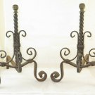 Andirons for Fireplace Antique Wrought Iron Couple Firedogs
