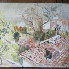 Panorama from the Home of Painter Painting Antique Oil on board with Cert p12