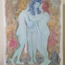 Painting Vintage Technical Mixed Experimental Nude Female the Three Graces P33.8