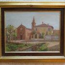 Painting Antique Oil Signed Soldera Church St.Martin Lorenzo in Monluè Milan MM