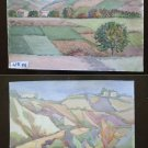 Pair of Painted to Watercolour Landscape Countryside Emilia Romagna Vintage P14