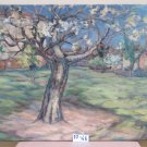 Painting Antique Original Oil on board Landscape in flower with Trees Spring