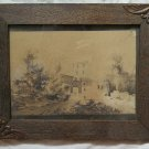 Painting Antique China on Basket Landscape with Ruins Signed Period 800 X1