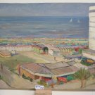 PAINTING OIL ON BOARD VIEW OF RIVIERA ROMAGNOLA RIMINI 1960'S 60 P27