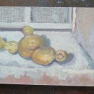 Potatoes on Table Nature Still Painting Oil board Antique Warranty p16