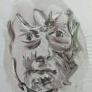 Old Sketch Painting Watercolour on Basket Portrait Stylised Man P28.8