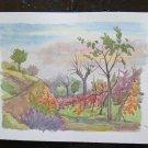 Painting Vintage Painting Watercolour Landscape Countryside Emilia