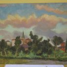 Antique Painting to Oil on board Landscape View City to Sunset Years' 60