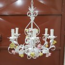 Chandelier Wrought Iron Style Floral Blossom Made by hand Vintage R