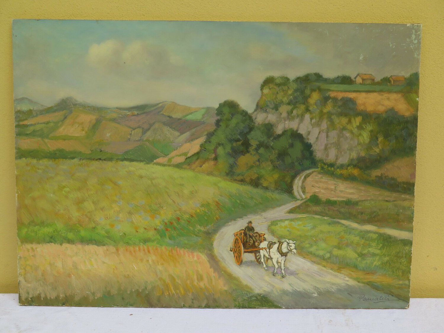 Painting Antique Signed Pancaldi Landscape Countryside with Horse half' '900