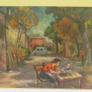 Antique Painting to Oil on board Scene of Life Peasant Woman in Farmyard 1960's