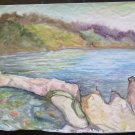 Old Painting Painting to Watercolour View Sea Opera Original G.Pancaldi P14