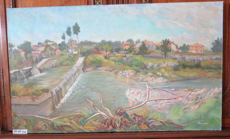 Painting Oil on Linen Signed Pancaldi Landscape Countryside Emilia Romagna P22