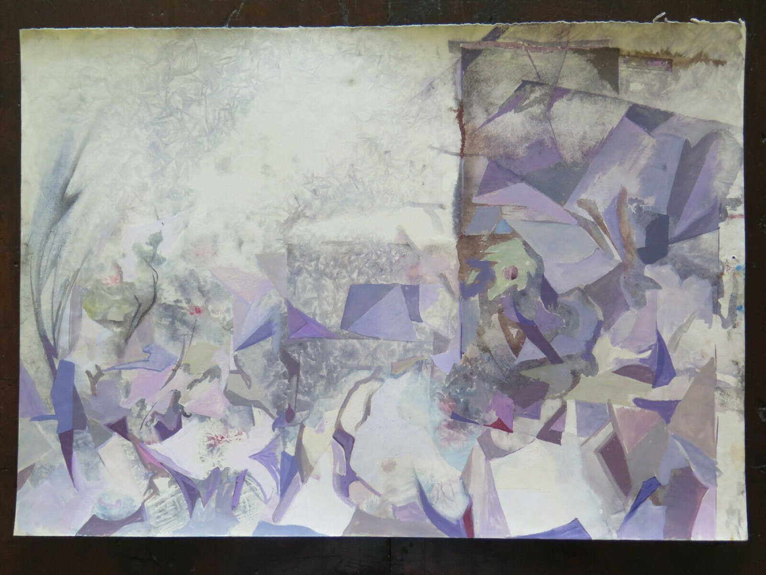 19 11/16x14 3/16in Painting Abstract Onirico with the Technical Frost Old Age