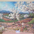 Painting Oil on board Landscape with Trees in flower Painting Vintage Years' 60