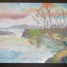 Painting Watercolour on Basket Preparatory Sketch Landscape Autumn P28.4