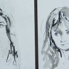 Two Old Painted on Basket Portrait Feminine Drawing Sketch Sketching P28.6