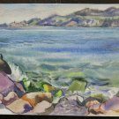Painting Painting to Watercolour Landscape View Marina Author G.Pancaldi P14