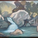 Painting Antique Painting Oil on board Landscape Mountain Original Warranty p18