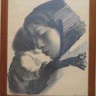Lithography Vintage Signed Sikker Hansen Portrait Painting Mother & Child R108