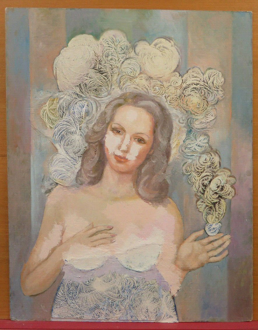Painting Vintage Watercolour Ice Portrait Feminine Nude with Advanced Frost Ps
