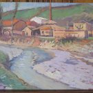 Old Painting Oil on board Painting Landscape Countryside Original Signed p8