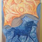 Painting Pop Art Years' 80 Vintage Theme Horse Background Abstract P33.6