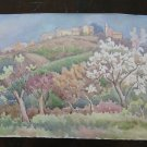 Painting Vintage Landscape Countryside Modena Watercolour 20 1/2x13 3/8in P14