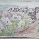 Old Painting Painter Local Sketch Scorcio by Country on Basket 20 1/2x15in P14
