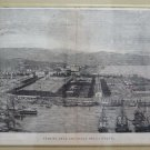 Large Engraving Antique View from 'Arsenal of Spice Framed XIX Century G31