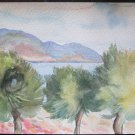 Painting Watercolour on Basket Painting Original Years 60 Landscape Sea P14