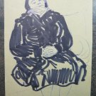 Antique Sketch Drawing on Basket Studio for Portrait Feminine Granny Painter P28