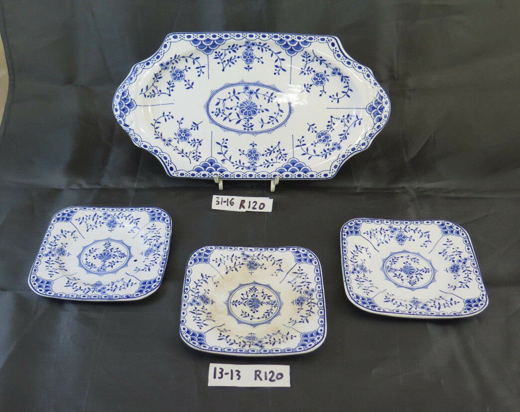 Plate for Capacity with 3 Saucers in Ceramic Vintage Saxon Made in England R120