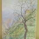 Antique Painting to Oil on board Landscape Countryside in Spring Signed
