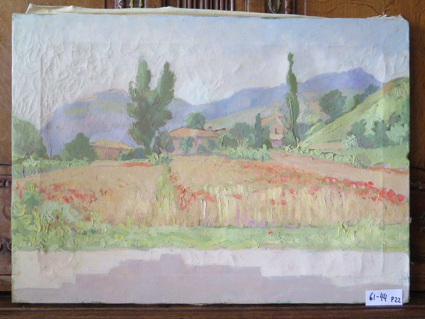 Antique Painting to Oil on Linen Landscape Countryside Emilia Romagna OEM P22