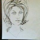 Drawing Antique Studio Preparatory Portrait Feminine Sketch Original P28.5