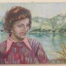 Painting Vintage Years Settanta Portrait Feminine Signed Painting Oil Linen MTB2