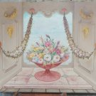 Painting Oil on board Painting with Flowers Swags Grotesque Signed Vintage R93