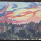Landscape to Sunset Painting Painting Oil on board 1960 Original Warranty p16
