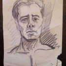 Portrait Male Drawing Pencil on Basket Original Painter G.Pancaldi P28.5