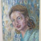 Painting to Oil on Linen Portrait Feminine Signed MTB 73 Painting Original MTB1