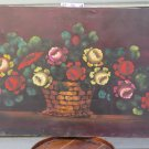 Large Painting Floral Painting with Flowers Oil on Linen 1960's Signed Vb