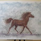 Painting Modern a Technical Mixed Oil Watercolour with Horse for Running P33.1