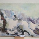 Painting Abstract Landscape Snowy Signed Pancaldi with Technical of Frost P25