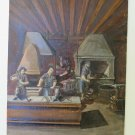 Painting Modern 1974 inside Workshop Foundry with Workers to Work Signed p2
