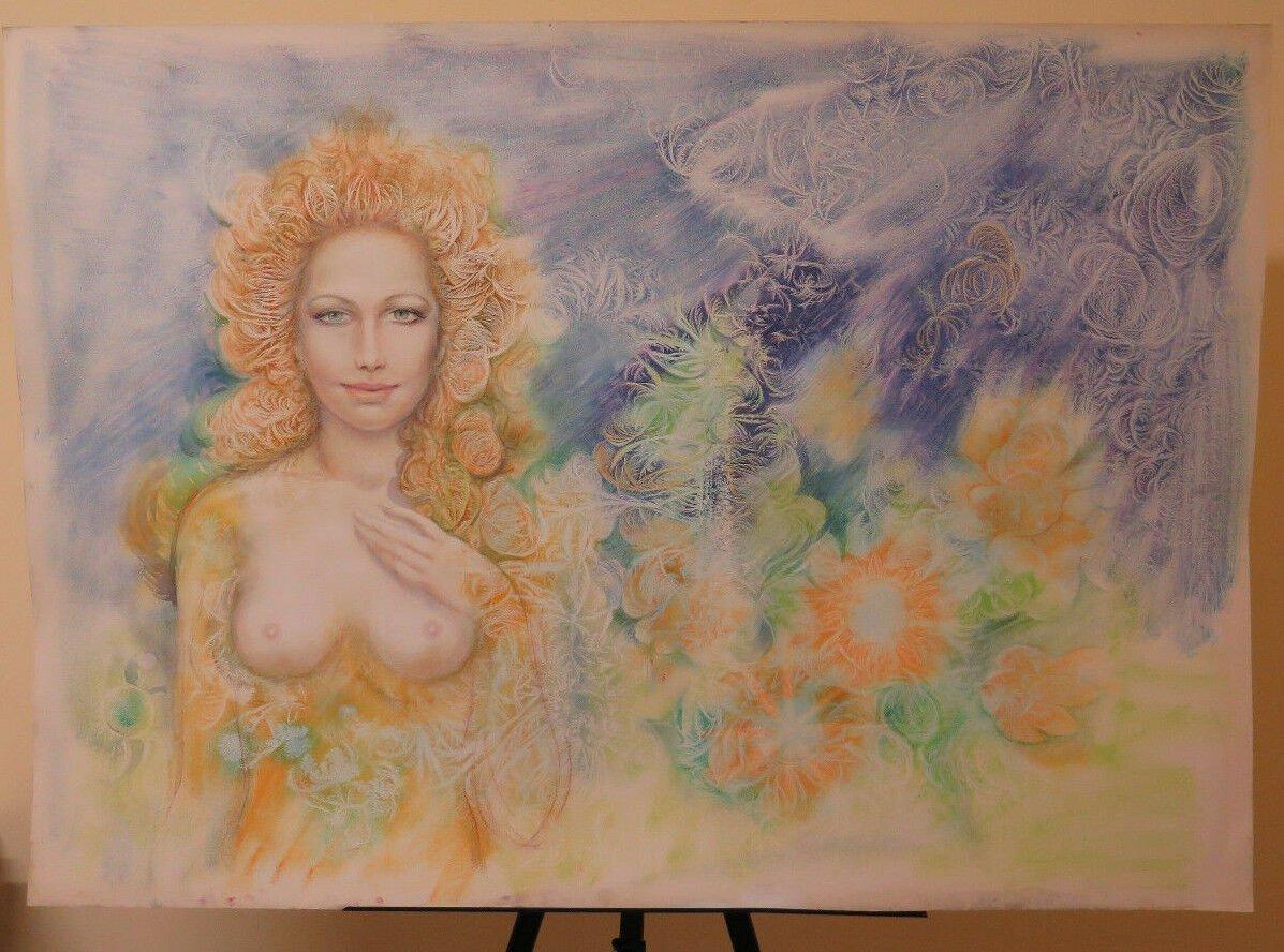 Painting Modern Pop Art Years 1980's 80 Portrait Feminine Nude of Woman P33.1